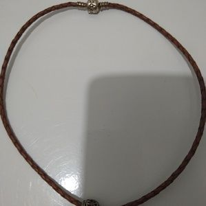 Brown Leather Pandora Necklace with Charm